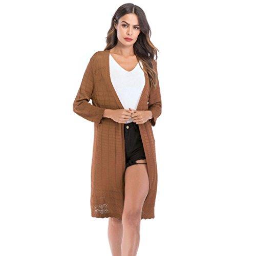 Fuibo Damen Strickjacke, Frauen Lose Gradient Solid Knit Cardigan Retro Langarm-Mantel |Cardigan Langarmshirt mit Schalkragen Langarm Leichte Strickjacke (XL, Khaki)