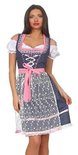 Dirndlspatz Damen Dirndl Trachtenkleid Blau Rosa 3 TLG Set mit Spitzenschürze und Bluse Midi Länge Gr 34