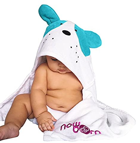 Baby Hooded Bath Towel – Cute Puppy Dog Animal Design – 100% Cotton Material (Blue)