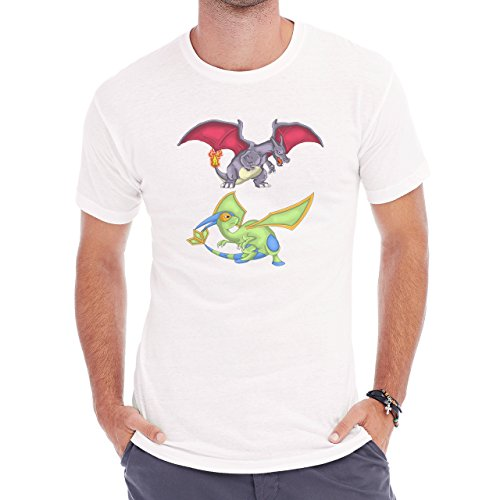 Pokemon Charizard Dragon Fire Flying Green Two Herren T-Shirt Weiß