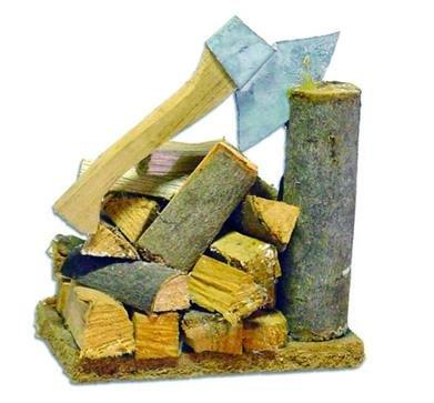 Unbekannt Miniaturfiguren Zubehör Hackstock mit Axt und Holzscheiten, Höhe ca. 6,5cm