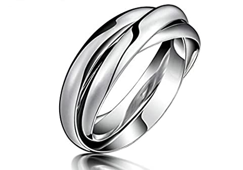 Jasmineees Jewellery Stainless Steel Lover's Mens Womens Ring Round Shape Smooth Three Rings Simple Style Anniversary Engagement Wedding Band Ring for Womens & Mens Silver Size J 1/2