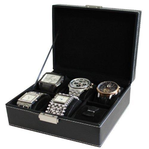 edle Uhrenbox für 6 Uhren Uhrenschatulle Uhrenkasten Uhrenkoffer