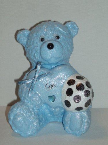 Figlio di pallone da calcio, per bambini, motivo: orsetto Teddy, colore: blu a forma di cuore, decorazione commemorativa da Ziggy Crafts