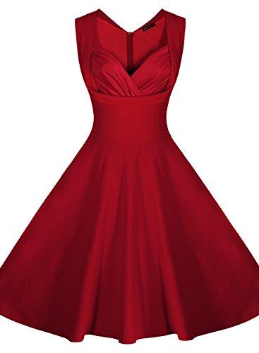 Miusol Ärmellos Sommerkleid 50er Jahre Retro Cocktailkleid Petticoat Kleid