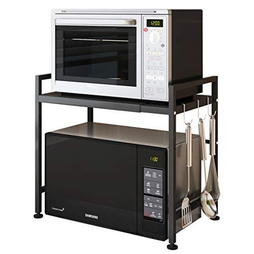 odenstehendes Mikrowellen-Regal, Küchenregal aus Stahl, Multifunktions-Lagerregal, einfach zu installierendes Würzregal, Kücheneckregal, ausziehbares Regal (Farbe : Schwarz) ()