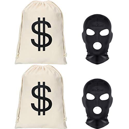 2 Stücke Dollar Zeichen Geldsäcke Canvas Taschen mit 2 Stücke Schwarzen Gesichtsmasken Halloween Kostüm für Halloween Cosplay Party Lieferungen (Größe - Dollar Zeichen Kostüm