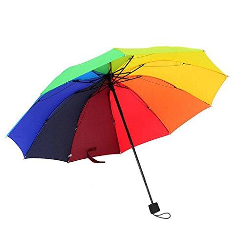 GTWP GT Regenschirm Manual Mode, 3 falten Regenschirm, Regenbogen Regenschirm Wasser blühende, Regen Regenschirm stabile Winddicht Anti-UV-Sonnenschutz Dach