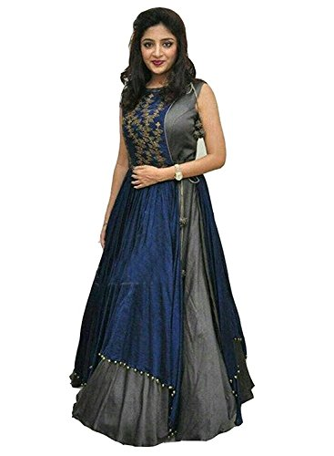 Izonme Women\'s Blue & Grey Taffeta Silk Semi Stitched Free Size Indo Western Lehenga Choli