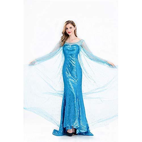 MEMIND Halloween Kleider Erwachsene Frau Aisha Frozen Cartoon Figuren Cosplay Bühne Kostüme Aisha Prinzessin Rock Thema Party Kleidung,XL (Frozen Frau Kostüm)