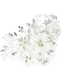 Honey Bear Bridal Jewellery Flower Hair Combs Clip for Women's Wedding Accessories,Simulated Pearl and Rhinestones,White