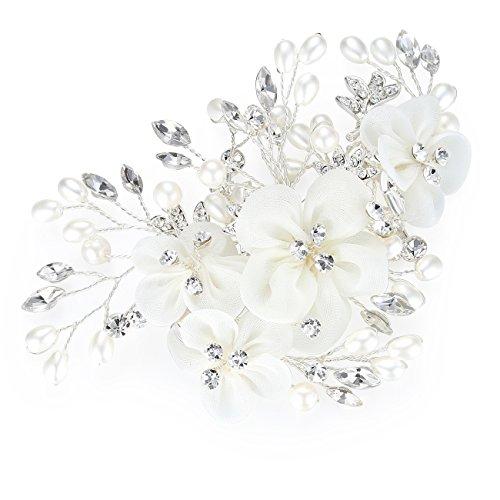 HONEY BEAR Donna Clip Pettine per CapelliGioielli da SposaAccessori per Capelli SposaGioielli Forma di Fiore con finte Perle e Strass Bianco