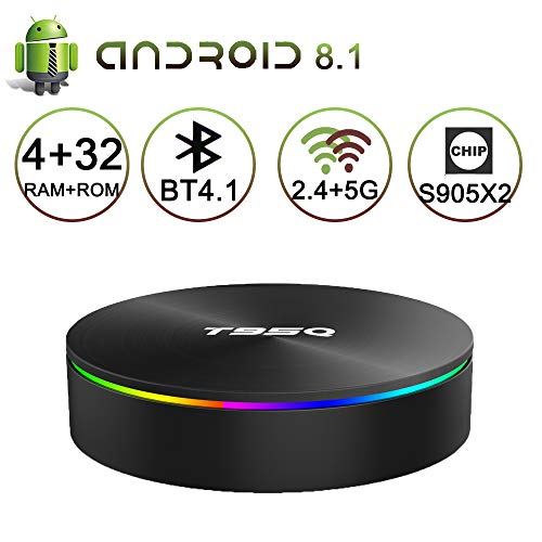 Android 8.1 TV Box 4 GB RAM 32 GB ROM, 2019 Neueste Smart Media Player Unterstützung 2,4 G / 5G Dualband WLAN 1000 M LAN Ethernet Bluetooth 4.1 3D 4K H.265 Set-Top-Boxen