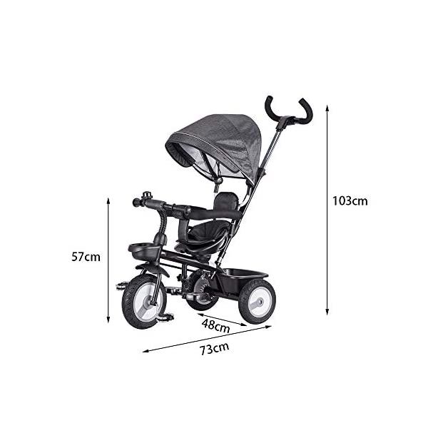 LRHD Children's Tricycle, 4-in-1 Baby Tricycle Cart, Suitable for 10 Months to 6 Years Old Walker, with Adjustable Push Handle, Detachable Ceiling, Retractable Pedal, Lockable Pedal LRHD 1. 4-in-1 tricycle: easy to switch between the four modes and easy to disassemble and install all components. This tricycle can grow up with a child aged 10 months to 5 years old, which is a rewarding investment for your child's childhood. Our four-in-one tricycle will be one of your children's fond memories of childhood. 2. Convenient for parents: when children cannot ride independently, parents can easily use the push handle to control the steering and speed of the tricycle. The height of the push handle can be adjusted to meet the different needs of parents. The push handle is also detachable, allowing children to enjoy free rides. 3. Ensure safety: Considering the safety of children when using, we have made many detailed safety designs. There is a detachable sponge guardrail on the seat, which can also be opened to let children get on the bus. The additional vertical safety belt can not only prevent the child from falling down, but also cover the button to avoid injury to the child. 2