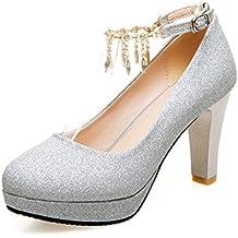 CHNHIRA Sandalias Zapato de Tacón Alto con Borlas y Chaton Para Mujer