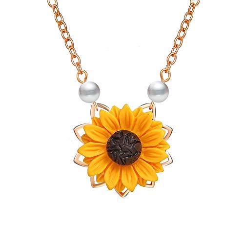 Qinlee Blumen Halskette Sonnenblume Pendant Pullover Kette Perle Strickjacke-Kette Mode Geschenk Damen Mädchen Schmuck für täglich