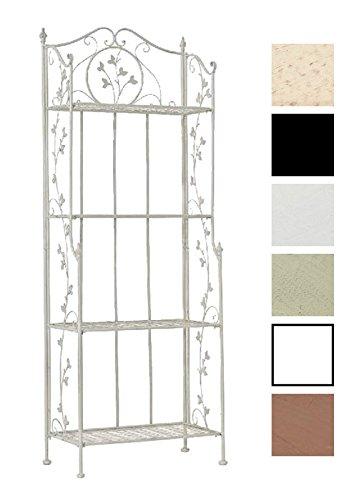 CLP ARONA stabiles Standregal im Landhausstil I Klappbares Eisenregal mit 4 Regalböden I In verschiedenen Farben erhältlich Antik Weiß Antik-weiße Bücherregal