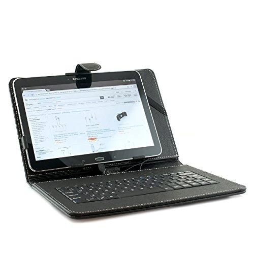 iprotect Hülle mit Tastatur (QWERTY) für Tablets 9,7 Zoll bis 10,1 Zoll Keyboard Case Universal mit Standfuß und Micro-USB Anschluss Schwarz