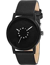 Nidhi Fashion Black Dial Stylish Leather Strap Black Color Analog Watch For Men & Boys (NF-028)