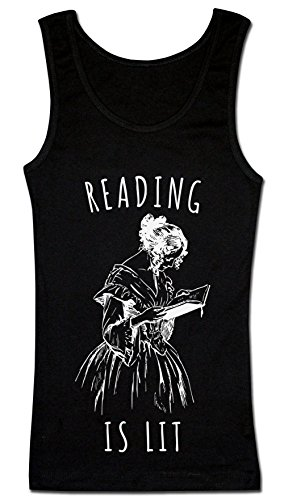 Finest Prints Reading is Lit Beautiful Vintage Girl Reading Damen Tank Top Extra Large (Vintage-kids Tank Top)