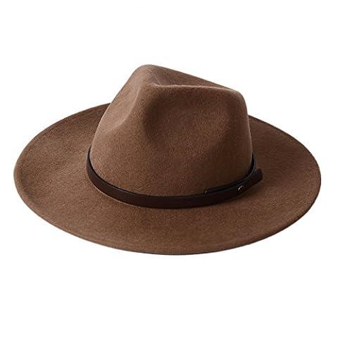 Chapeau de Panama en feutre 100% laine avec large bord classique Fedora pour homme et femme de mou - marron -