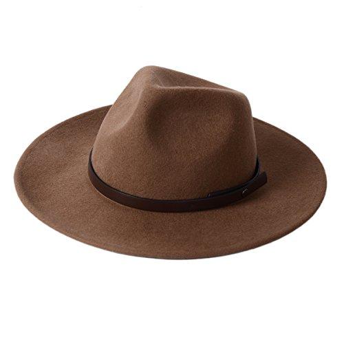 Fedora Hut 100% Wolle Filz Panama Classic mit Vorderseite Center Delle Krone breiter Rand Wasser Resistent für Männer und Frauen Trilby (Kostüm Bowler Braun Hut)