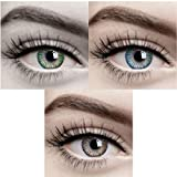 Diamond Eye - 3 Pair (Green,Sky Blue,Hazel) Monthly 0 Powerless Contact Lens + Multi Plus Solution With Lens Storage Box