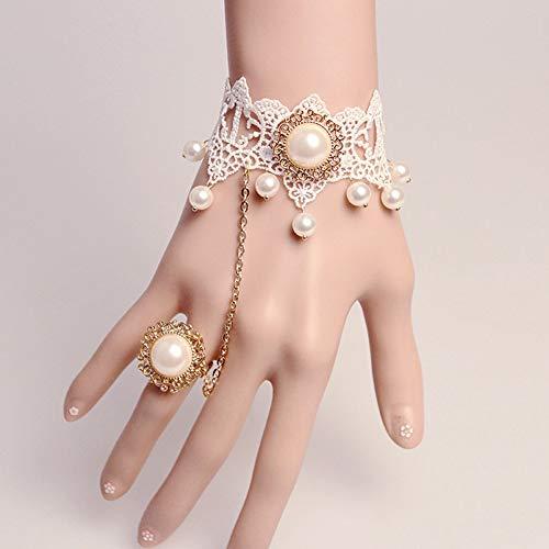 Einer Kostüm Piraten Art Ein Von - MLSJM Braut Armband Ring Set Für Frauen, Elegante Stilvolle Prinzessin Pearl White Lace Armband Armbänder, Einstellbare Chain5.1 + 2,7 Zoll, Atemberaubendes Geschenk