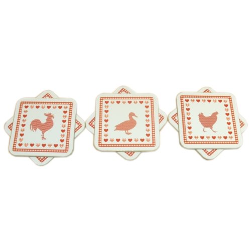 Country Dining Set (Country Kitchen Dining Table Cork Drinks Coasters Set/ 6)
