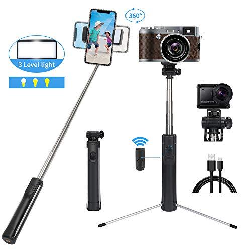 POWERAXIS Bluetooth Selfie Stick Stativ 110cm, 3 in 1 Handy und Kamera Stativ mit LED,Fernbedienung,Erweiterbar Wireless Selfie-Stange Stab 360°Rotation für iPhone, Samsung, Huawei,kameras