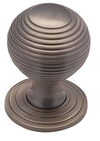 Solid Heavy Reeded Beehive Cabinet Cupboard Door Knob 32mm diameter - Satin Nickel