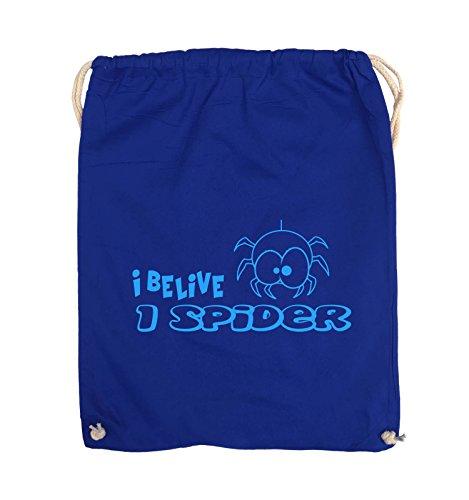 Comedy Bags - I BELIEVE I SPIDER - Turnbeutel - 37x46cm - Farbe: Schwarz / Pink Royalblau / Blau