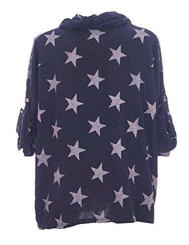 Moda Italy Damen Bluse Tunika mit Stern Pailletten, Schal und 3/4 Ärmel mit Knopfriegel Fischerhemd Longbluse Hemdbluse Marine