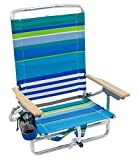 Rio Brands Beach Classic 5 Position Lay Flat Folding Backpack Beach Chair, Blue Stripes