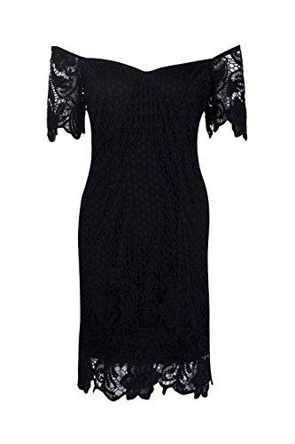 Schwarz Damen Boutique Daisy Blumen Crochet Off Schulter Kleid Schwarz