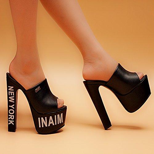 XiaoGao Summer New Cool Zapatillas 15 cm de Tacon Alto y de Fondo Grueso Zapatos de Mujer,Corteza Negro...