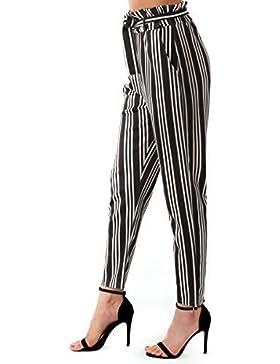 Re Tech UK Mujer Rayas Con Cinturón Talle Alto Pantalones ESTRECHADO Bolsa Papel Cigarette Moderno Tallas 6-14