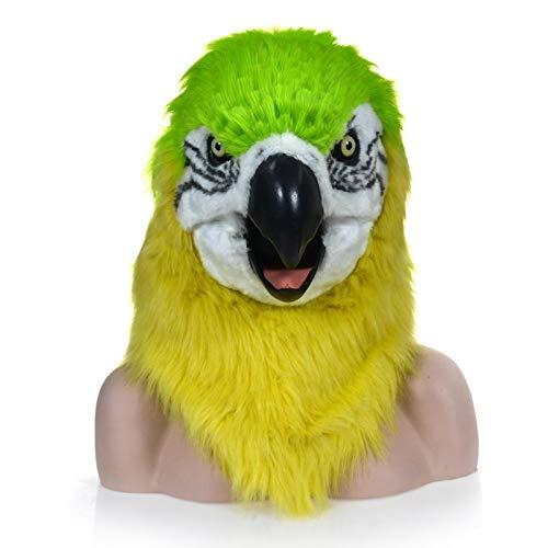SCSY-masks Erwachsenen Halloween Kostüm Realistische Handgemachte Maßgeschneiderte Cosplay Beweglichen Mund Maske Roter Papagei Pelzigen Simulation Tier Maske (Color : Green) (Handgemachte Kostüm Für Erwachsene)