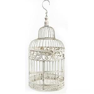 Oiseau décoratif Cage ronde en métal blanc de mariage Vintage Grande Taille