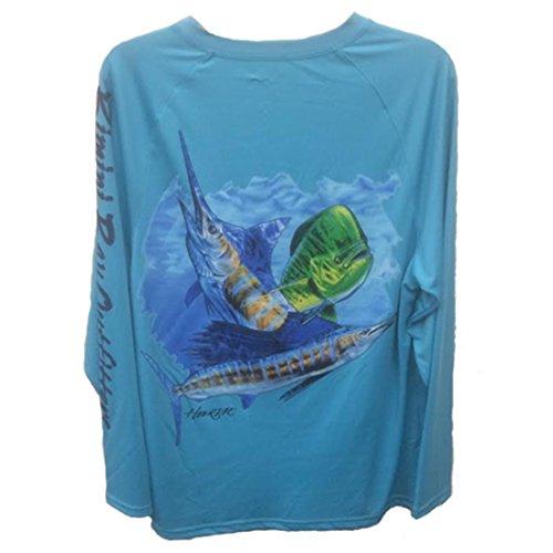Bimini Bay Outfitters Herren Hemd Hook'M Performance Graphic Long Sleeve, Herren, Off Shore Slam Scuba Blue, Large -
