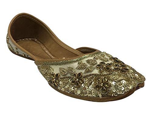 Juttis Damen Flache Mojari Ethnic Sandalen Indische Schuhe Salwar Kameez Schuhe Hochzeit Schuhe, cremefarben/goldfarben - Größe: 41 EU