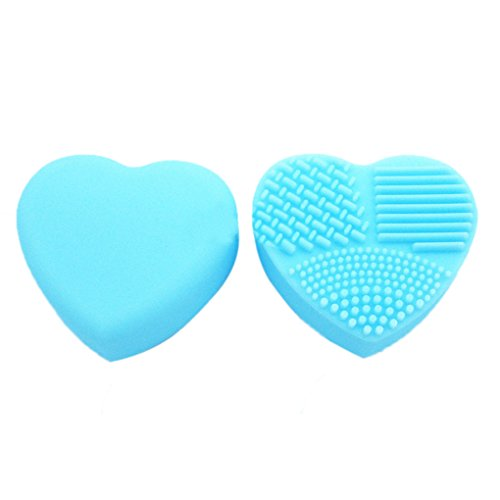 Meisijia 1 pc Coeur Brosse Oeuf Nettoyage Lavage Maquillage Brosse Silicone Brushegg Cosmétique Poudre Propre Outils Bleu Clair