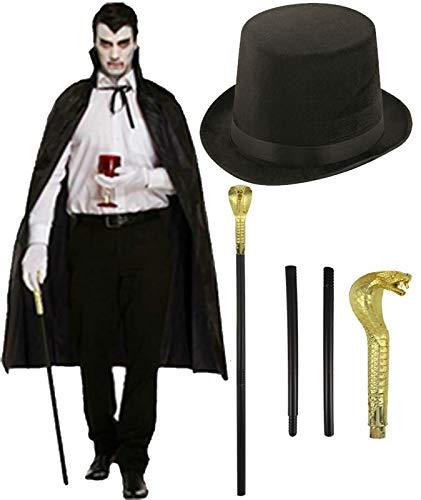 Lincoln Kostüm Top Hut - labreeze Erwachsene Schwarzer Umhang Lincoln Top Hut Schlangenstock Stick Halloween Party Kostüm