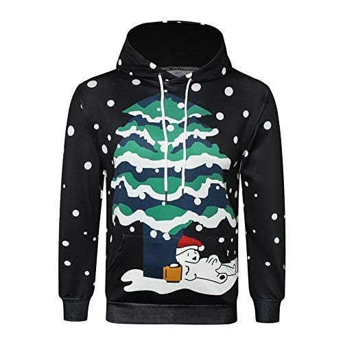 friendGG❤️❤️ Herren Kapuzenpullover Christmas Jumper 3D Gedruckt Weihnachten Pullover Sweatshirt Langarmshirt Top,Herren 3D Gedruckter Weihnachtspullover Langarm mit Kapuze Sweatshirt Tops