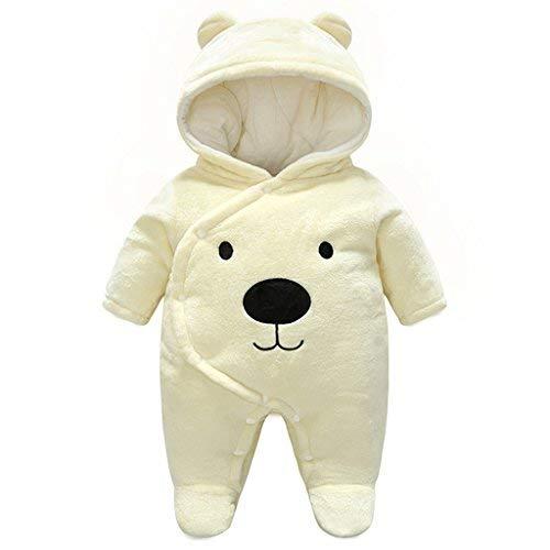 Minizone Baby Overalls mit Kapuze Winter Flanell Strampler Spielanzug mit Füße Karikatur Jumpsuit, 0-3 Monate