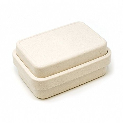 Brotdose mit Fächern QUADRO Beige | BIO Bambus Kinder Lunchbox 4-teilig - umweltfreundlich lebensmittelecht und spülmaschinenfest Baby Lunchdose BPA frei