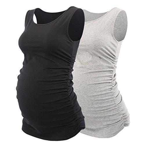 Still- top, Schwangerschafts- Shirt, KUCI® Damen Basic Umstandstop Weste Side Ruched Scoop Neck Ärmellos Sommer- Umstandsshirt (Sport-bhs Tank-stil)
