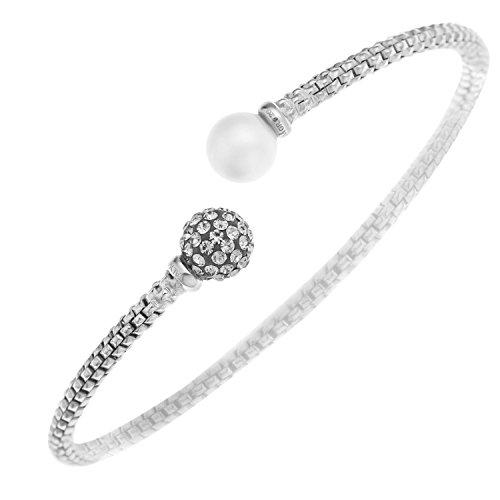 Ornami Glamour mujer Plata de ley (925/1000) plata redondo Perlas Simuladas blanco...