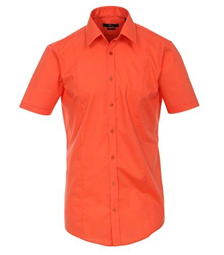 Michaelax-Fashion-Trade - Chemise business - Uni - Col Chemise Classique - Manches Courtes - Homme Orange - Orange (409)