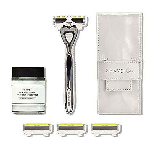 Shave-Lab Bodyshave Kit Mrs Gorgeous including Manual Shaver Zero in Pure White for Ladies plus 4 P.L.6 Razor Blades and Depot 401 Pre & Post Shave Lotion and Slim Traveller